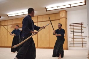 Paul Frank Sensei training with a naginata